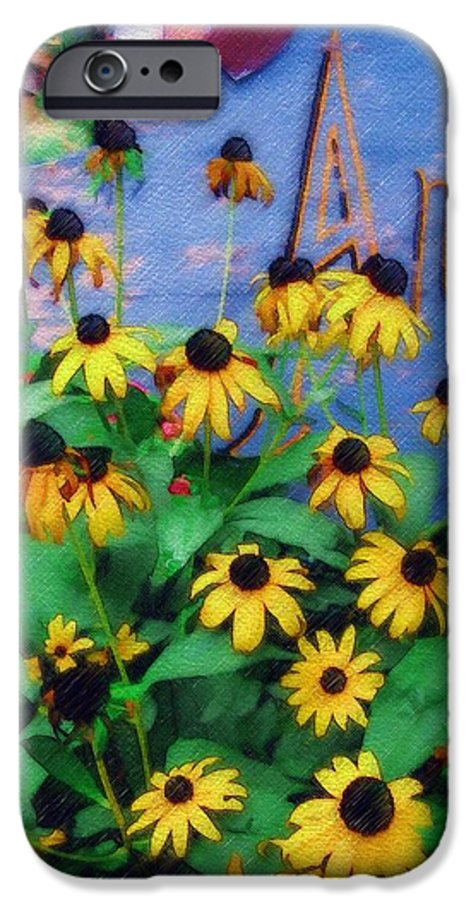 Flowers IPhone 6 Case featuring the photograph Black-eyed Susans At The Bag Factory by Sandy MacGowan