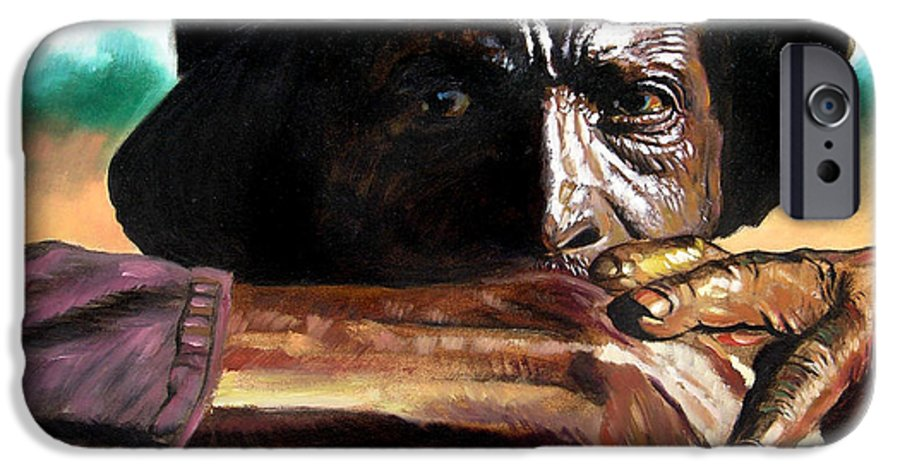 Black Farmer IPhone 6 Case featuring the painting Black Farmer by John Lautermilch