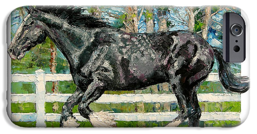 Horse IPhone 6 Case featuring the painting Black Power by John Lautermilch