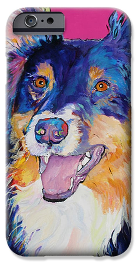 Dog IPhone 6 Case featuring the painting Blackjack by Pat Saunders-White
