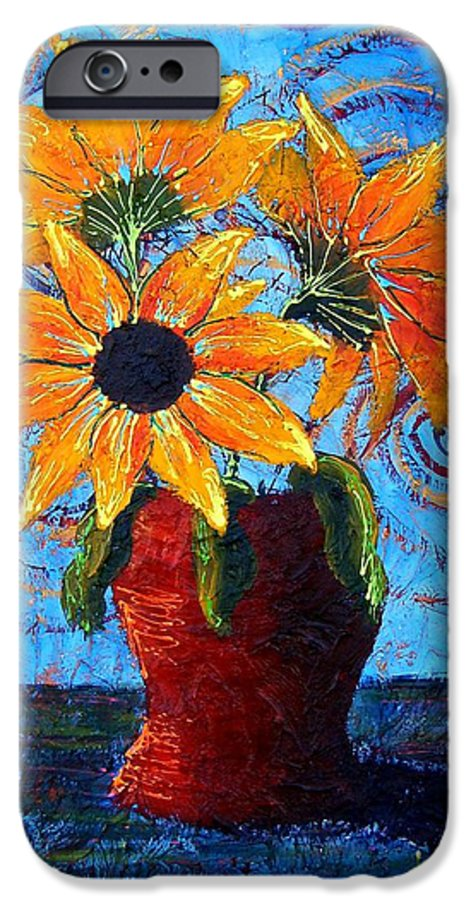 IPhone 6 Case featuring the painting Blazing Sunflowers by Tami Booher