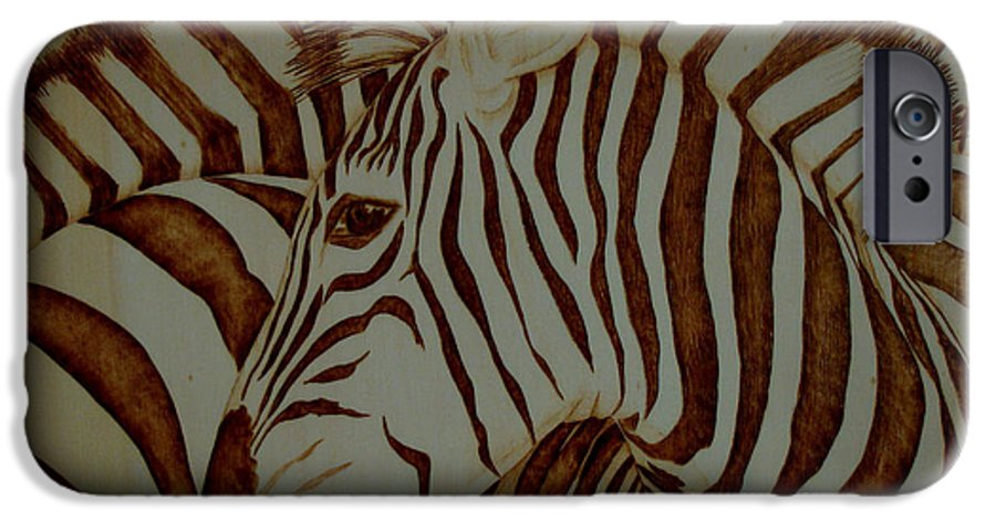 Pyrography; Woodburning; Sepia; Zebra; Stripes; Wild Life; Africa; Horse; Herd; IPhone 6 Case featuring the pyrography Blending In by Jo Schwartz