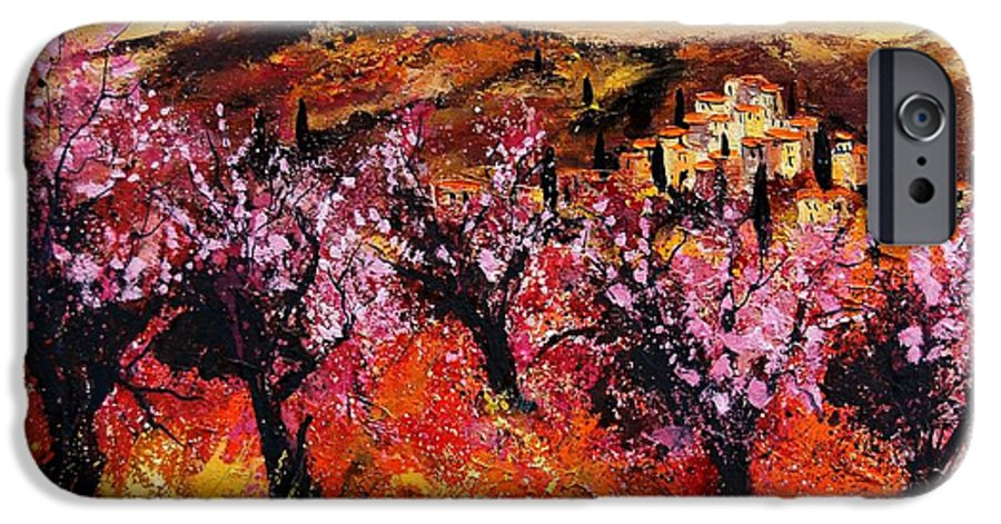 Provence Cherrytree Summer Spring IPhone 6 Case featuring the painting Blooming Cherry Trees by Pol Ledent