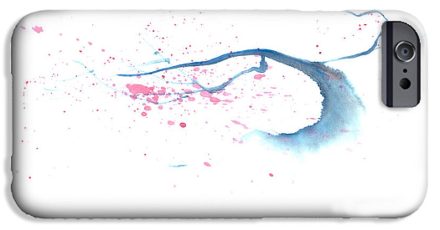 A Flowering Tree Is Blowing In The Wind And Spreading Flower All Over.  This Is A Contemporary Chinese Ink And Color On Rice Paper Painting With Simple Zen Style Brush Strokes.  IPhone 6 Case featuring the painting Blowing In The Wind I by Mui-Joo Wee