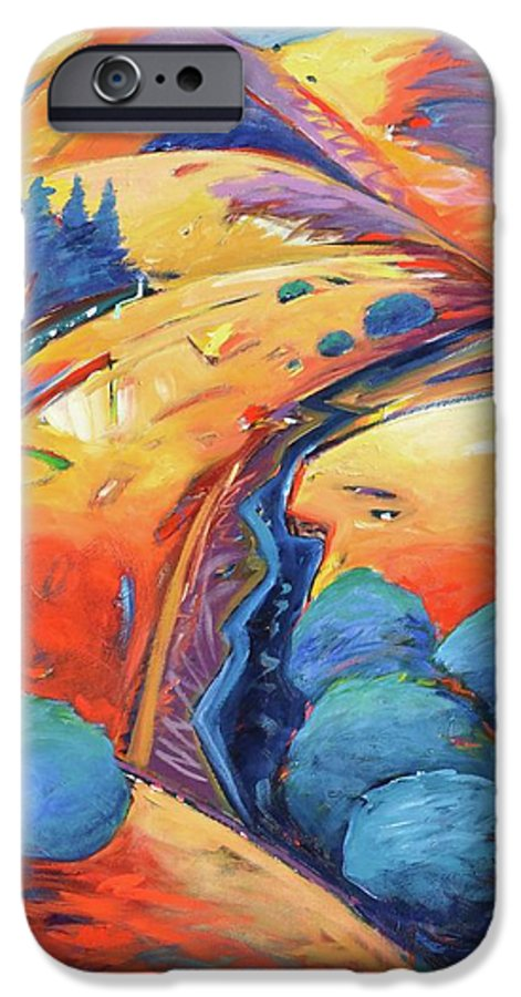 Hills IPhone 6 Case featuring the painting Blue And Gold by Gary Coleman