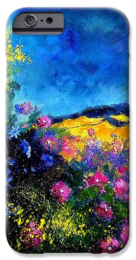 Landscape IPhone 6 Case featuring the painting Blue And Pink Flowers by Pol Ledent