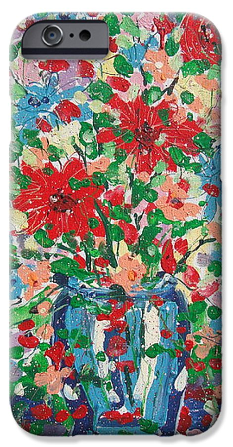 Painting IPhone 6 Case featuring the painting Blue And Red Flowers. by Leonard Holland