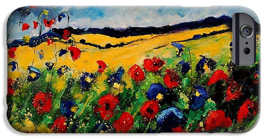 Poppies IPhone 6 Case featuring the painting Blue And Red Poppies 45 by Pol Ledent