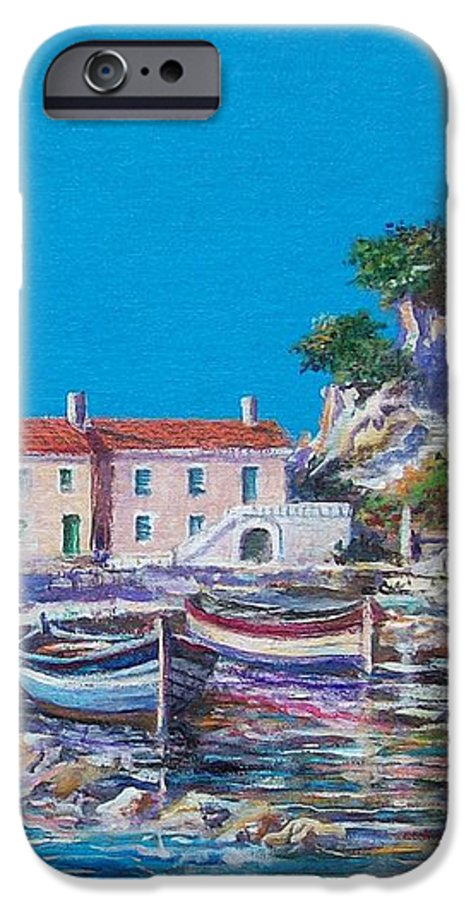 Original Painting IPhone 6 Case featuring the painting Blue Bay by Sinisa Saratlic