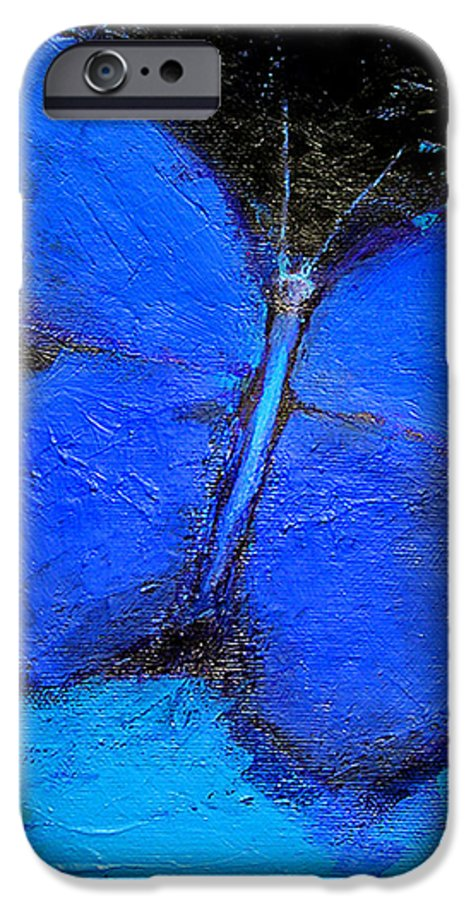 Butterfly IPhone 6 Case featuring the painting Blue Butterfly by Noga Ami-rav