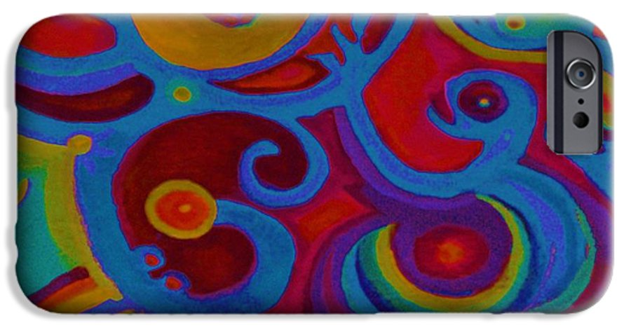 Abstract IPhone 6 Case featuring the painting Blue Corn Flower by Sidra Myers