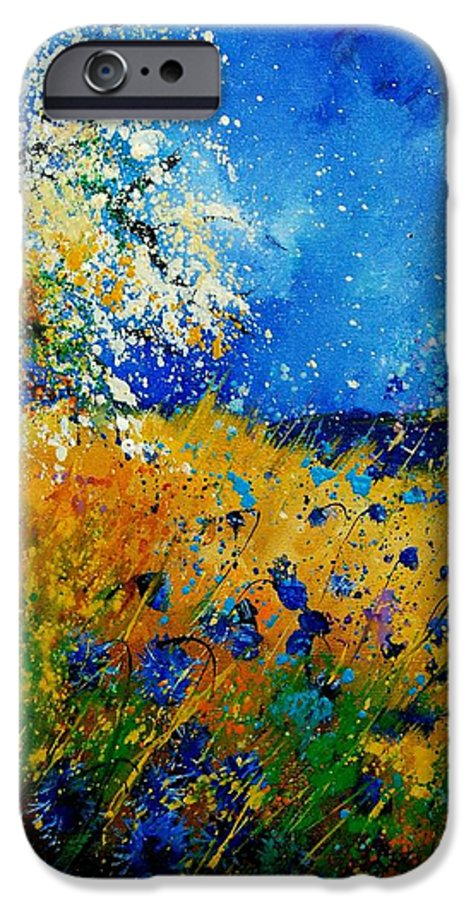 Poppies IPhone 6 Case featuring the painting Blue Cornflowers 450108 by Pol Ledent