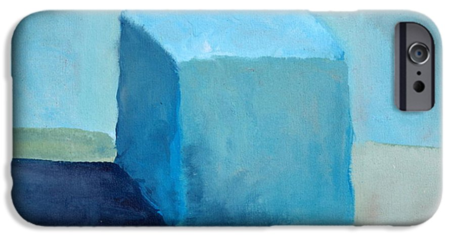 Blue IPhone 6 Case featuring the painting Blue Cube Still Life by Michelle Calkins