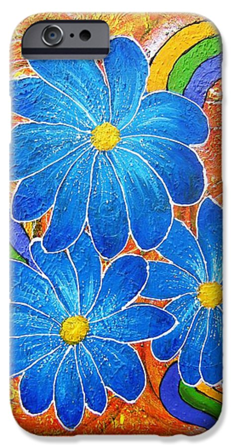 IPhone 6 Case featuring the painting Blue Daisies Gone Wild by Tami Booher