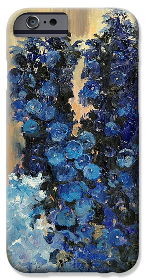 Floral IPhone 6 Case featuring the painting Blue Delphiniums For Nancy by Glenn Secrest
