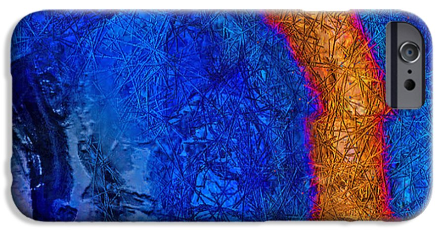 Abstract IPhone 6 Case featuring the painting Blue Force by Dee Flouton