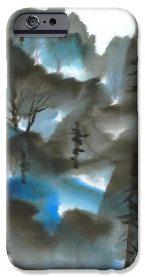 A Forest With A Tint Of Blue. This Is A Contemporary Chinese Ink And Color On Rice Paper Painting With Simple Zen Style Brush Strokes.  IPhone 6 Case featuring the painting Blue Forest by Mui-Joo Wee