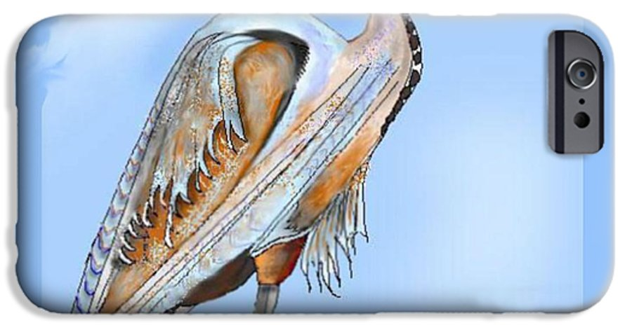 Blue Heron IPhone 6 Case featuring the painting Blue Heron In The Mist by Anne Norskog