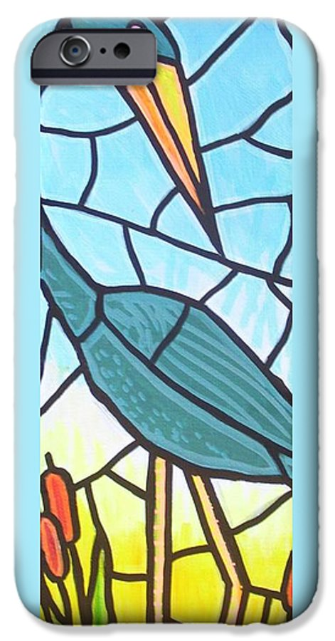 Heron IPhone 6 Case featuring the painting Blue Heron by Jim Harris