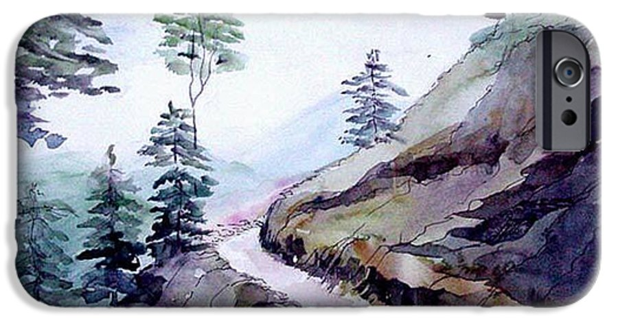Landscape IPhone 6 Case featuring the painting Blue Hills by Anil Nene