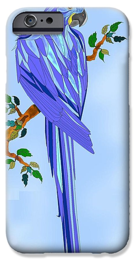 Blue Bird IPhone 6 Case featuring the painting Blue Hyacinth by Anne Norskog