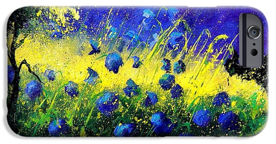 Flowers IPhone 6 Case featuring the painting Blue Poppies by Pol Ledent
