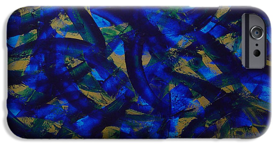 Abstract IPhone 6 Case featuring the painting Blue Pyramid by Dean Triolo