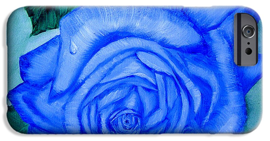 Rose IPhone 6 Case featuring the painting Blue Rose by Quwatha Valentine