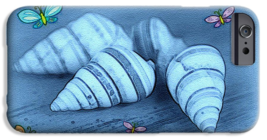 Shell Art IPhone 6 Case featuring the photograph Blue Seashells by Linda Sannuti