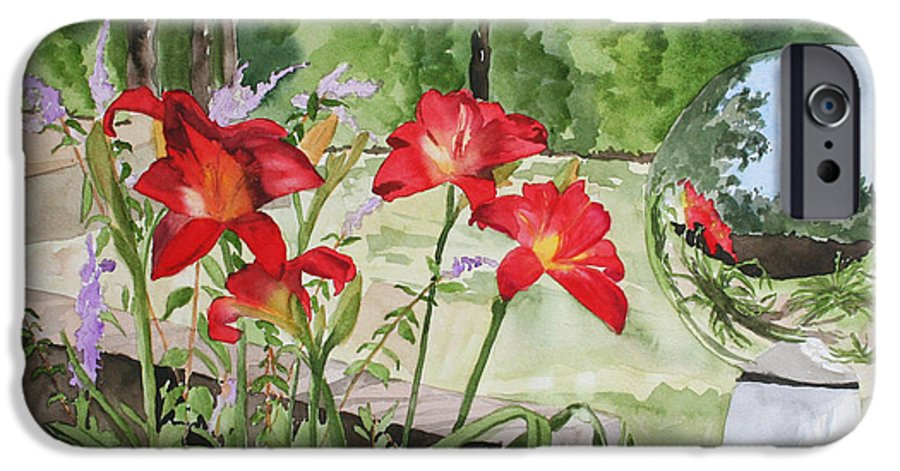 Flowers IPhone 6 Case featuring the painting Blue Sky Reflections by Jean Blackmer