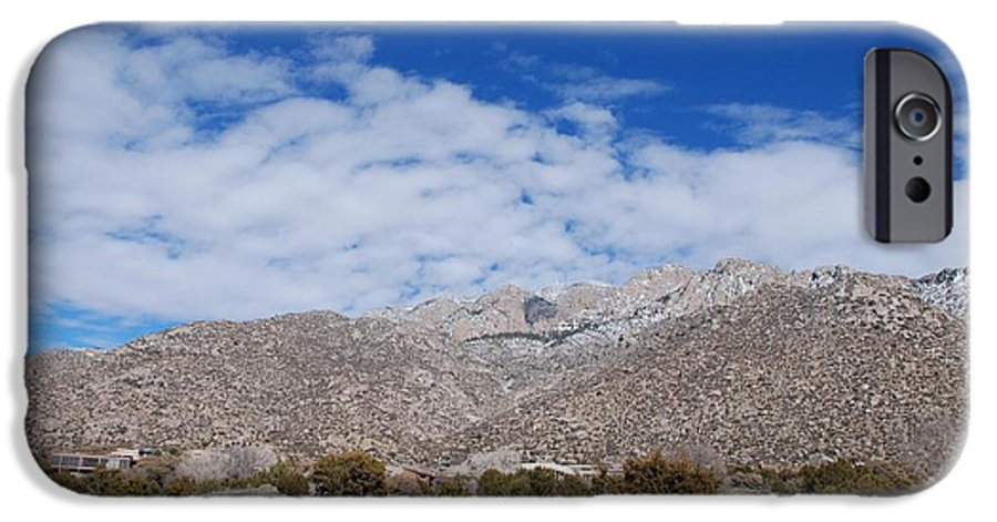 Sandia Mountains IPhone 6 Case featuring the photograph Blue Skys Over The Sandias by Rob Hans