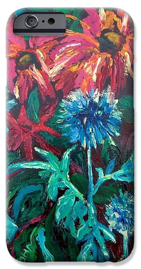 Red IPhone 6 Case featuring the painting Blue Thistle And Bee Balm by Susan Spohn