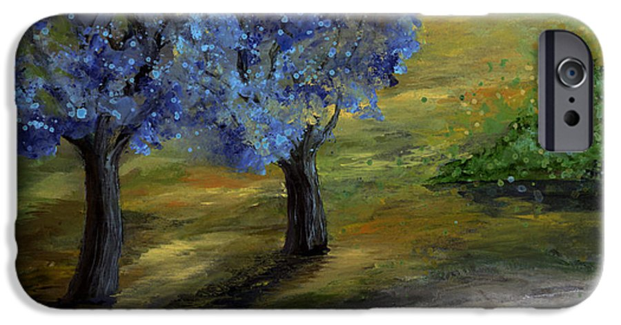 Trees IPhone 6 Case featuring the painting Blue Trees by Laura Swink