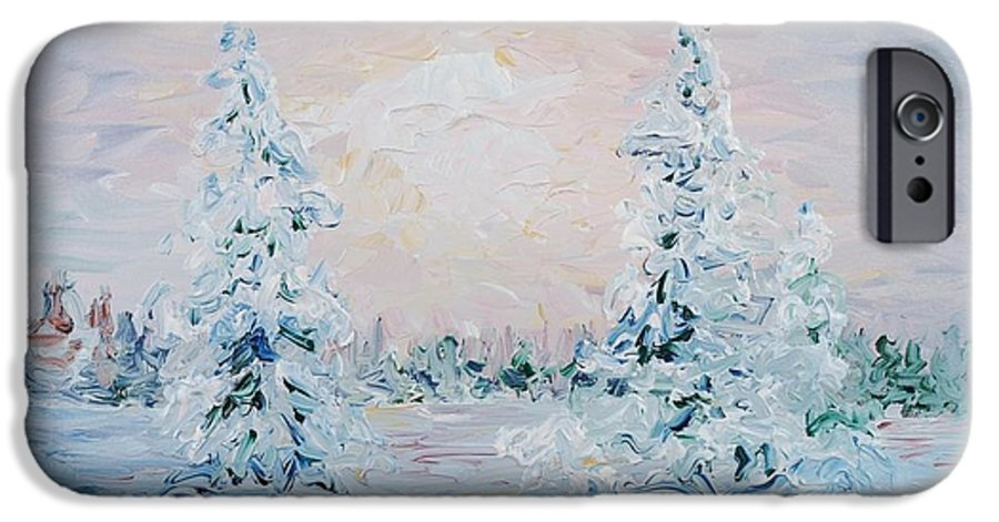 Landscape IPhone 6 Case featuring the painting Blue Winter by Nadine Rippelmeyer
