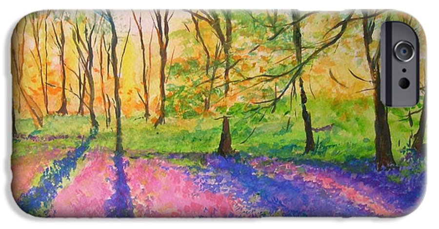 Landscape IPhone 6 Case featuring the painting Bluebell Wood by Lizzy Forrester