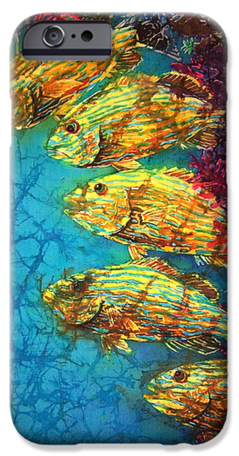 Bluestriped Grunts IPhone 6 Case featuring the painting Bluestriped Grunts by Sue Duda