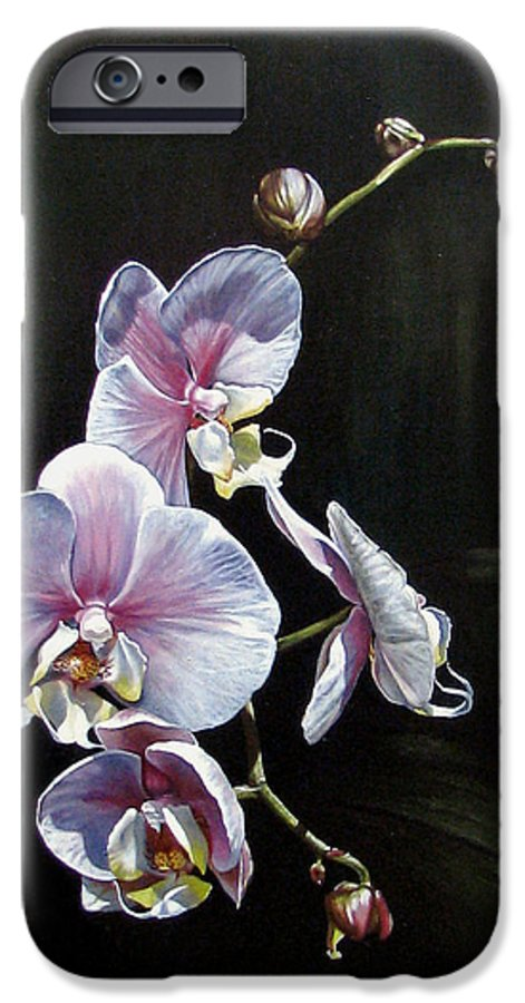 Orchid IPhone 6 Case featuring the painting Blushing by Joan Garcia