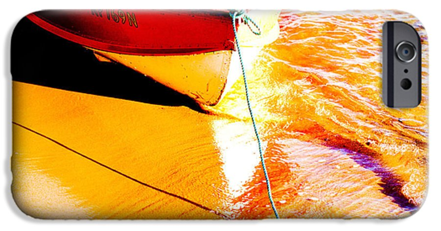 Boat Abstract Yellow Water Orange IPhone 6 Case featuring the photograph Boat Abstract by Sheila Smart Fine Art Photography