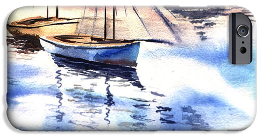Watercolor IPhone 6 Case featuring the painting Boat And The River by Anil Nene