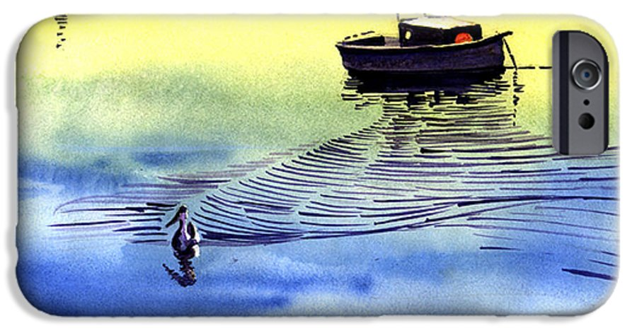 Watercolor IPhone 6 Case featuring the painting Boat And The Seagull by Anil Nene