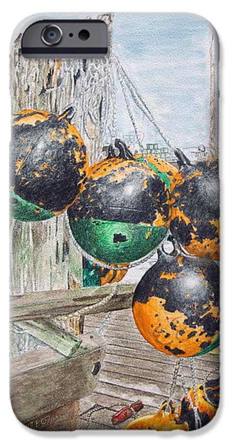 Boat Bumpers IPhone 6 Case featuring the painting Boat Bumpers by Dominic White