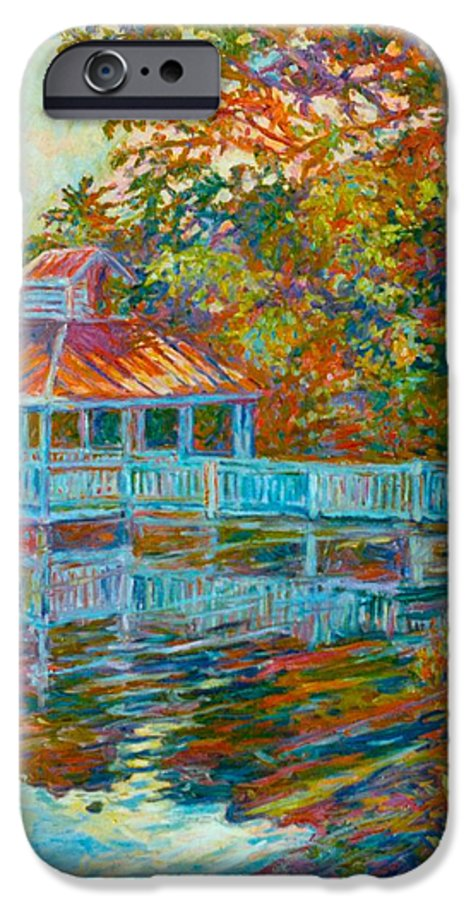 Mountain Lake IPhone 6 Case featuring the painting Boathouse At Mountain Lake by Kendall Kessler