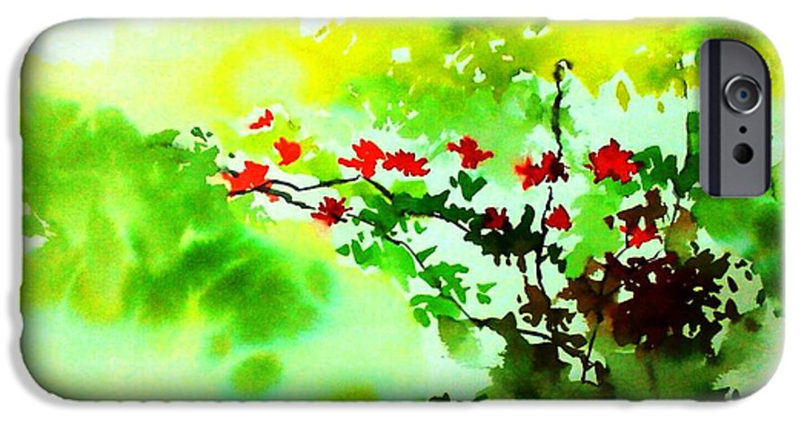 Floral IPhone 6 Case featuring the painting Boganwel by Anil Nene
