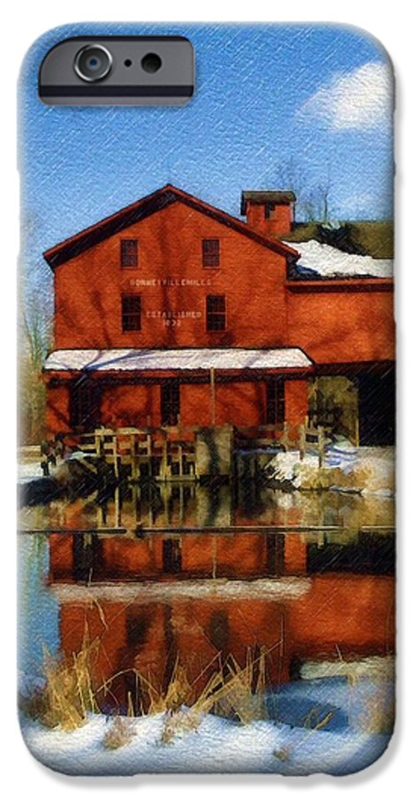 Bonneyville Mill IPhone 6 Case featuring the photograph Bonneyville In Winter by Sandy MacGowan