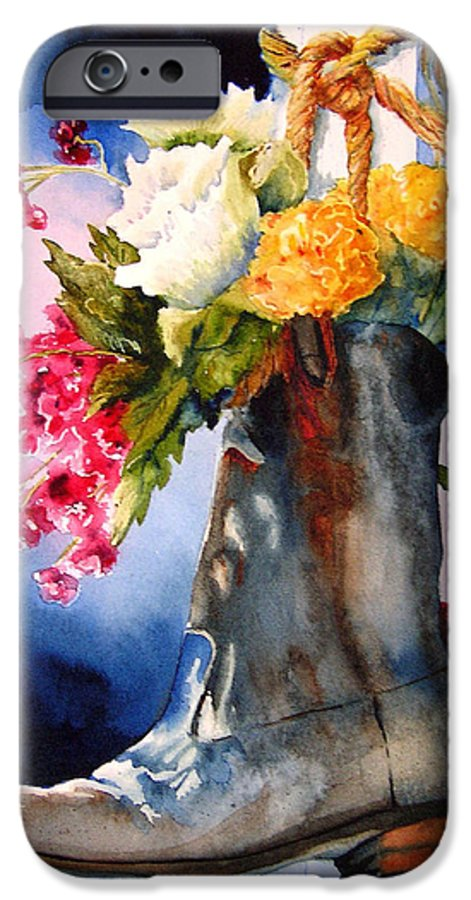 Cowboy IPhone 6 Case featuring the painting Boot Bouquet by Karen Stark