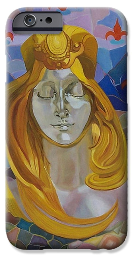 Figurative IPhone 6 Case featuring the painting Born-after Mucha by Antoaneta Melnikova- Hillman