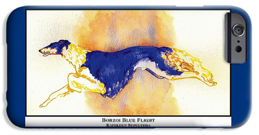 Borzoi IPhone 6 Case featuring the digital art Borzoi Blue Flight by Kathleen Sepulveda