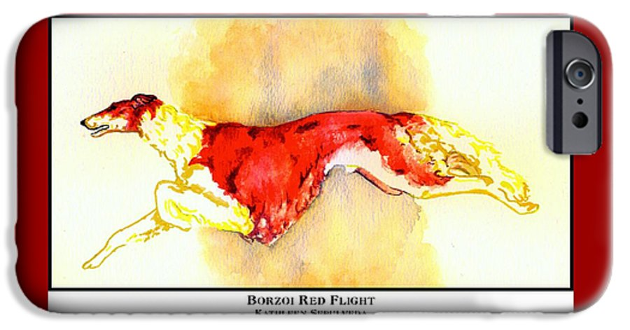 Borzoi IPhone 6 Case featuring the digital art Borzoi Red Flight by Kathleen Sepulveda