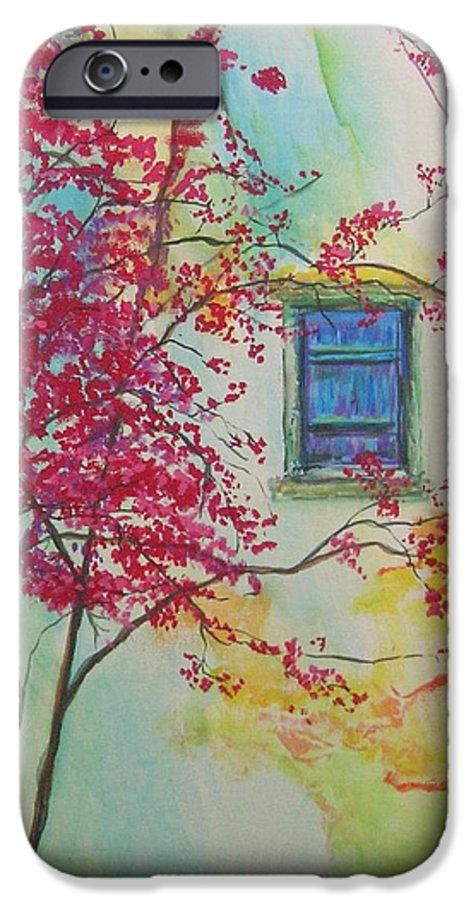 Bouganvilla IPhone 6 Case featuring the painting Bouganvilla And Blue Shutter by Lizzy Forrester