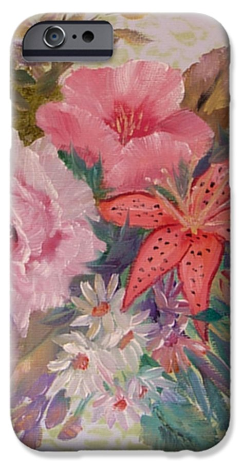 Rose IPhone 6 Case featuring the painting Bouquet by Quwatha Valentine